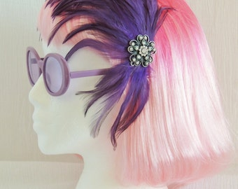 Vintage Feather Purple & Black Fascinator / Half Hat