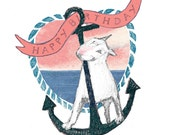 Bull Terrier Birthday Card with Nautical Rope and Anchor Terriers' Delight