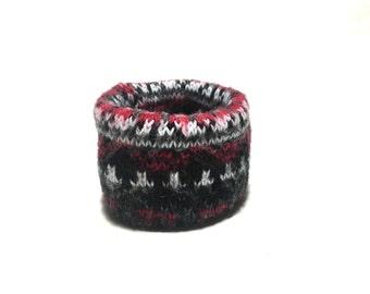 XX Small Black, Red and White Dog Neck Warmer, Handmade Designer Dog Accessory