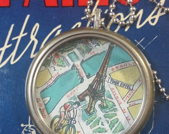 RECYCLED-- Vintage Paris Map Necklace
