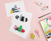 MINI PRINTS  x 3 Woodland illustrations