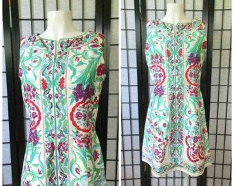 Vintage Summer Dress by McMullen 1960s 1970s Green Turquoise Blue Purple White Red Aqua Seafoam Flowers 36 Bust M Medium Mod Shift Sheath