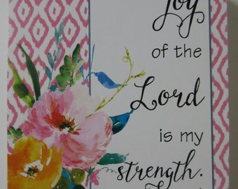 The Joy of the Lord is my Strength Art Block WORD Art Shelf Art Tabletop Decor Christian Home Decor