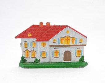 Vintage 1930's Hand-Painted Lead House - Flat House Figurine - Miniature House Display Model Railroad Village Decor