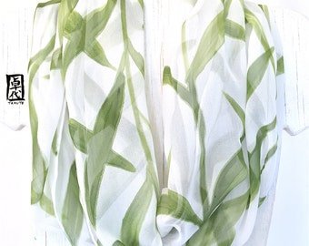 Silk Infinity Scarf, Gift for her, Green and White Scarf, Silk Scarf Handpainted, Sage Green and White Leaves Scarf, 14x72 in loop.