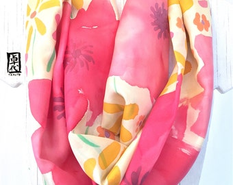 Boho Loop Scarf, Silk Infinity Scarf, Scarf for Wife, Silk Scarf Handpainted, Red and Yellow Retro Wildflowers Scarf, 11x72 inch Loop