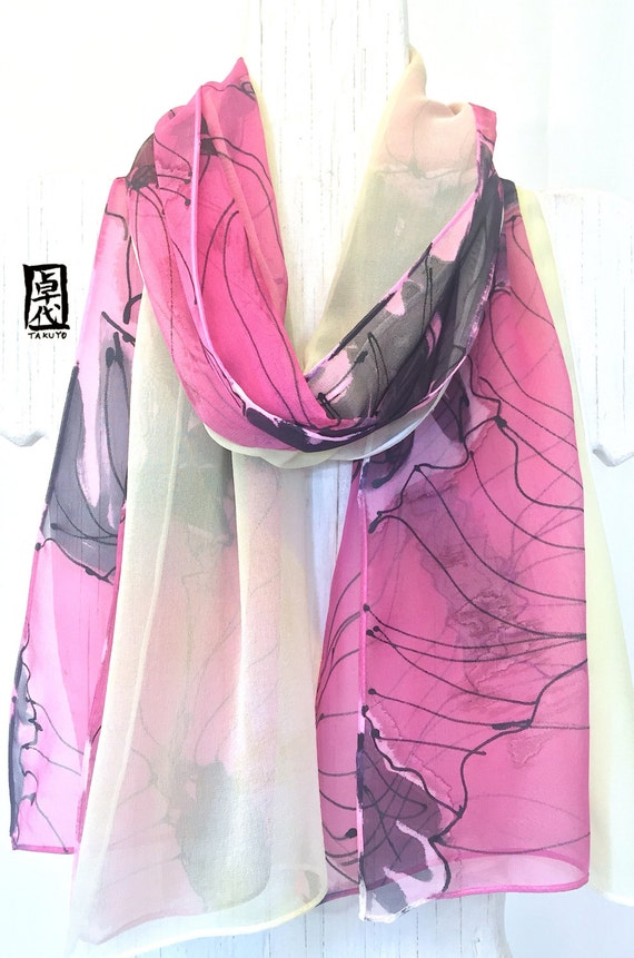 Silk Scarf Handpainted, Reversible Silk Scarf, Dreamy Pink Poppy Scarf, Chiffon Scarf Silk, Pink and Light Green, Takuyo, 11x60 inches