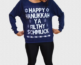 Hanukkah Sweater Happy Hanukkah Ya Filthy Schmuck Womens Triblend Sweater Ugly Hanukkah Sweater