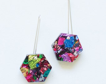 Hexie Glitter Drops - Fireworks - Each To Own - Geometric Laser Cut Earrings