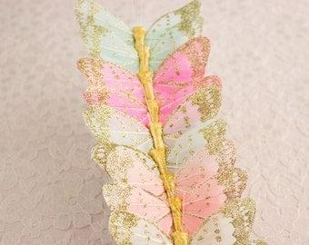 Pastel Glitter Feather Butterflies 12 Monarch Bird Feather Butterflies 3 inch wingspan size / Bridal Hair / Wedding Bouquet
