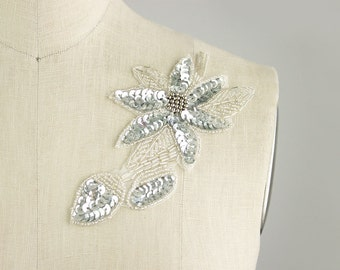 NEW ITEM! Silver Beaded Sequin Floral Iron On Applique / Bridal Applique / Wedding / Floral Patch / Evening Dress / Headpiece
