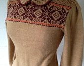 Vintage Peter Pan Collar Sweater Fair Isle Knit