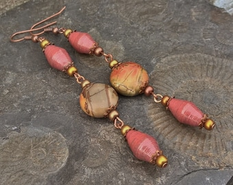 Red Paper and Picasso Jasper bead earrings ~ One of a Kind Paper Bead Jewelry
