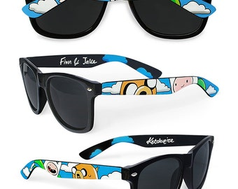 Adventure Time Wayfarer sunglasses unique gift for her customized personalized geek men best friend gift painted handmade Finn and Jake