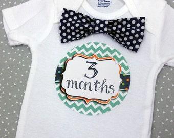 Baby Bow Tie Onesie®, Baby Bowtie Onesie®, Monthly Onesie®, Monthly Baby Stickers, Baby Month Stickers, Boy, Chevron, Arrows, Navy Blue Mint