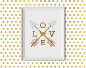 Love, Arrows, Tribal, Pink, Mint, Gold, Nursery Decor, Love Crossed Arrows, Tribal Nursery Decor, Baby Girl, Arrows Feathers Heart, Monogram