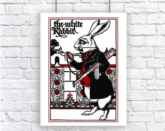 The White Rabbit Alice in Wonderland Large Vintage Art Poster Print Red and Black and White Lewis Carroll Nursery