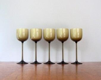 Five (5) Tall Mid Century Carlo Moretti Wine Glasses - Smoke / White Cased Glass