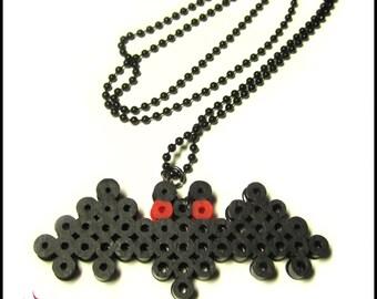 Black Kawaii Bat Perler Bead Pixel Art Necklace
