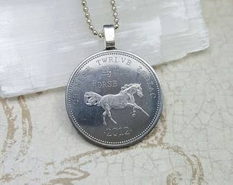 Year of the Horse necklace - Chinese New Year - Somaliland 10 shillings coin - Horse pendant - Coin necklace - Coin jewelry - Horse necklace