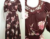 VINTAGE 1970s Funky Boho Plum Pink Flower Prairie Dress 12 40 Hippy