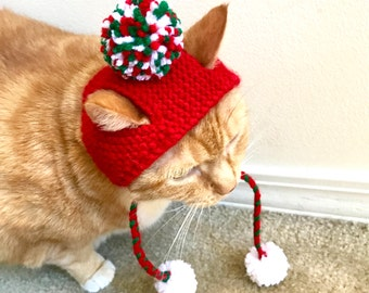 Christmas Pom Pom Cat Hat - Red, Green, and White with Strap Pom Poms -Hand Knit Cat Costume