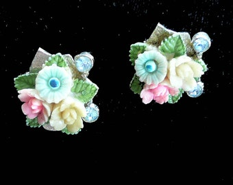 Antique Flower Earrings Rhinestones Screw Back Style Vintage