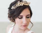 Grecian crown, Gilded gold leaves headband, gold hair vine, boho bridal headpiece, Boho Bridal Headband, Hand Painted Leaves Headband