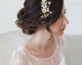 Gold Crystal Bridal Headpiece, Wedding Hair Vine, Bridal Hair Piece, Crystal beaded head piece, Gold Wedding Hair Accessories