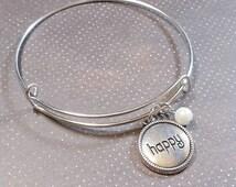 HAPPY Charm Bracelet - Silver Bangle Adjustable Bracelet - Add a Swarovski Birthstone - Charm Bracelets