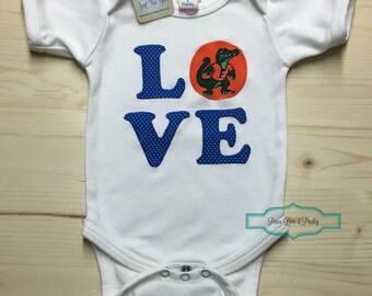 Gators Bodysuit made from University of Florida Fabric, Gators Baby, UF Baby Girl, Baby Shower Gift, Baby Girl Gators Outfit,Blue and Orange