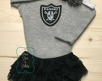 Oakland Raiders Bodysuit, Lace Diaper Cover and Headband Set Made from Oalkand Raiders Fabric, Baby Girl Raiders Outfit, Raiders Baby, NFL