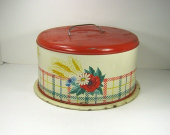 Vintage RUSTIC CAKE CARRIER Red Plaid Flower & Wheat Metal Pastry Plate Cupcake Platter