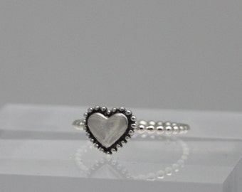 Statement rings, stackable rings, Beaded heart ring, sterling silver heart ring, women, eco friendly, bridal gift, bridesmaid gift