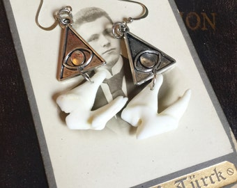 Evil Eye Pyramid   Wolf Tooth Earrings