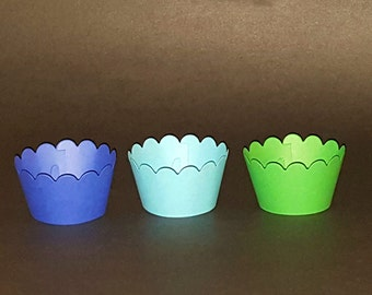 12 Cupcake Wrappers - The Good Dinosaur - Boys Birthday - Blue and Green