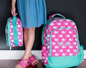 Whale Print!  SET-Girl Regular Size School Backpack & Lunchbox.  Get ready for Back to School!  So cute, popular, preppy, and trendy!