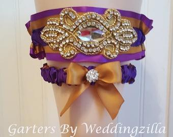 LSU Wedding Garter Set. Purple and Gold Wedding Garter , Gold Crystal Applique, Bridal Garter Set, Wedding Garter Belt