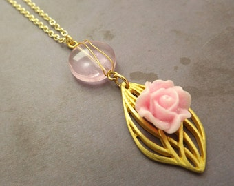 Pink Rose Necklace with Matching Earrings/Valentines
