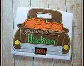 Retro Truck Hauling Fall Pumpkins - Appliqued Custom Shirt or Bodysuit - THE ORIGINAL - Classic Truck