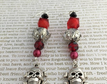 Skull Earrings - OOAK In Red And Silver Sugar Skulls Day of the Dead Jewelry Dia de los Muertos All Saints Day Pirate Skull Crossbones
