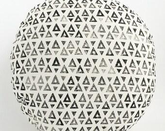 SEEKER round handprinted cushion / pillow in black