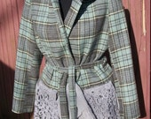Blue Green & Gray Plaid Jacket with Sweater Hood- Altered Couture Refashion - Size 10