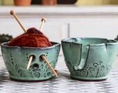 Pottery Yarn Bowl - Aqua Mist - Handmade One of a Kind - Gift for Mom - READY TO SHIP
