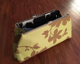 Green & Brown Flowered Clutch Bag