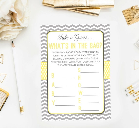 the bag baby shower game baby shower game printable yellow gray baby