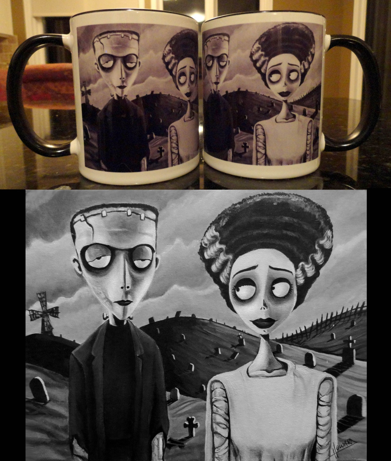 corpse bride of frankenstein art coffee mug tim burton style