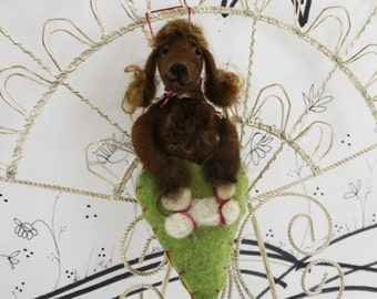 Needle felted Brown Poodle ornament, felted curly brown poodle in wool heart, poodle puppy, ready to mail Pet Pocket from Curly Furr