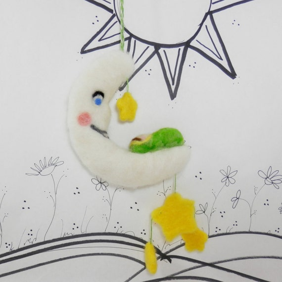 Needle felted Baby mobile or crib decor in green, moon and stars, childs decor, Moon Baby, door hanger, baby gift, shower gift, gift tag