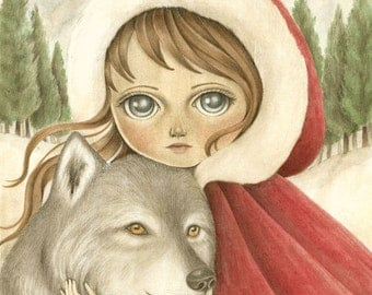 Art Print of Original Acrylic Painting, Fairy Tale Art Signed Print, Illustration of Red Riding Hood and the Wolf